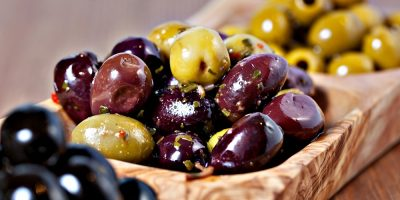 Black and Green olives in dressing