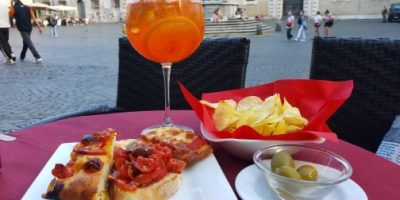 Aperol Spritz and appetizers in Trastevere, Italy